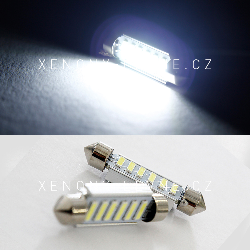 CAN-BUS sufitka bílá - Super Light, 6 SMD LED, 43mm, 1ks