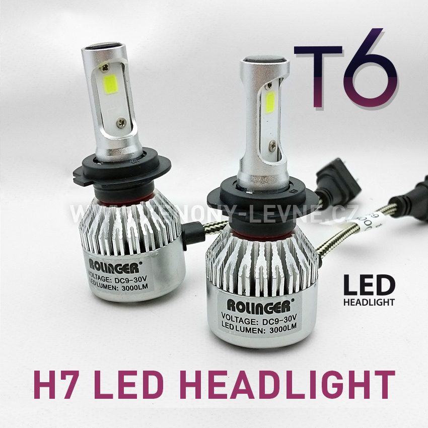 T6 LED HEADLIGHT H7 6000K 30W