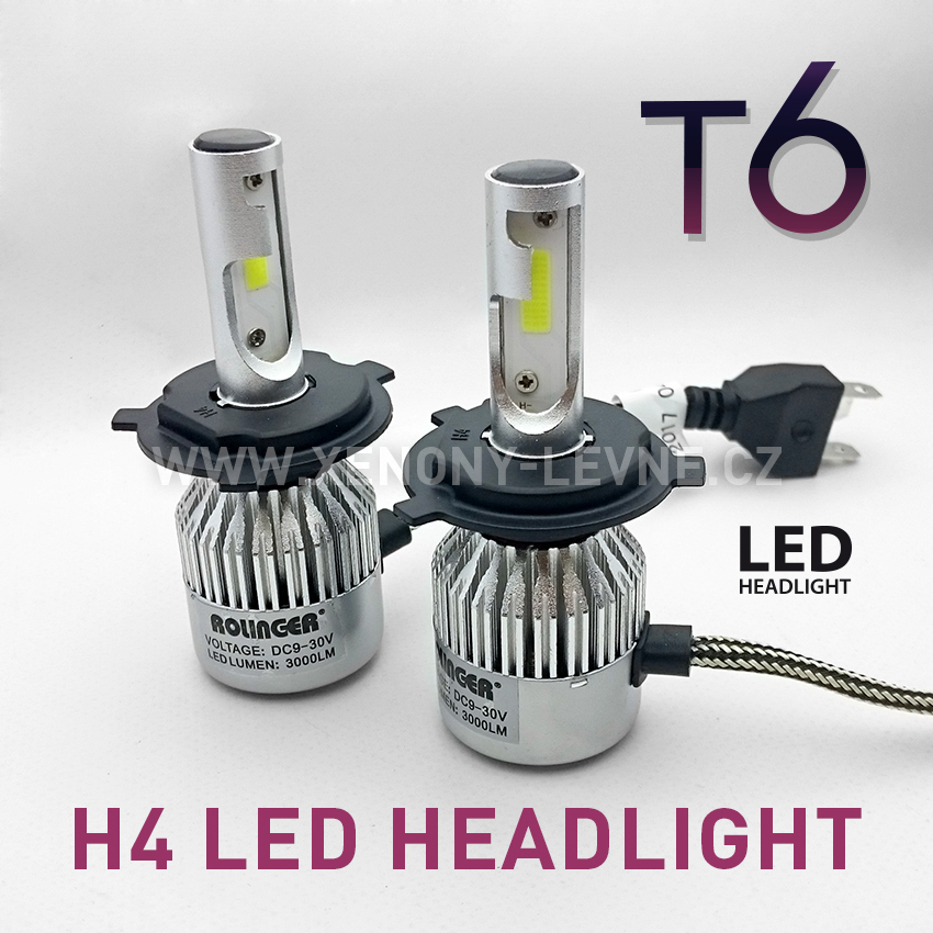 T6 LED HEADLIGHT H4 6000K 30W