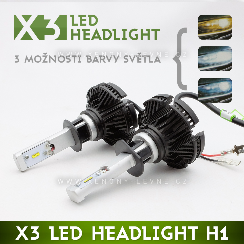 LED HEADLIGHT H1 - X3 6000LM 50W IP67 - 3000K / 6500K / 8000K