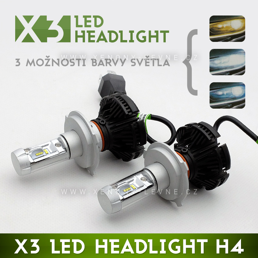 LED HEADLIGHT H4 - X3 6000LM 50W IP67 - 3000K / 6500K / 8000K